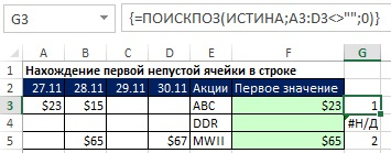 Рис. 23.8. Разместите фрагмент формулы с функцией ПОИСПОЗ в ячейке G3 и скопируйте его вниз