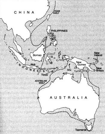 Рис. 11. Карта региона от Юго-Восточной Азии до Австралии и Новой Гвинеи