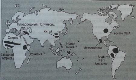 Рис. 5. Центры зарождения производства продовольствия