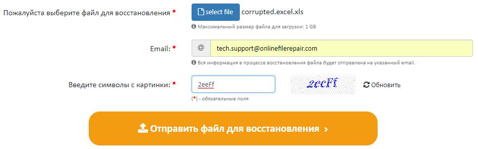 Рис. 10. Интерфейс Online file Repair Service
