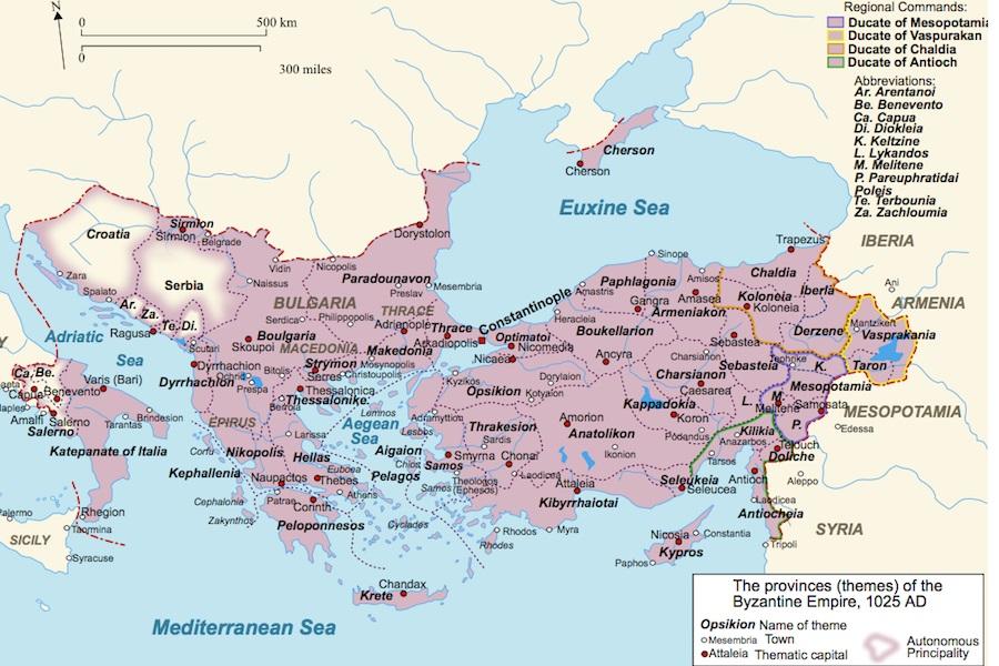 Ris. 3. Vizantijskaya imperiya v 1025 g.