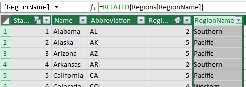 Ris. 36. Vychislyaemyj stolbets s imenami regionov v tablitse States