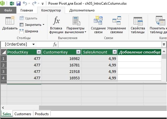 Ris. 12. Tri tablitsy v Power Pivot aktivna tablitsa Sales