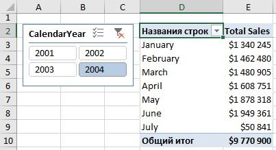 Ris. 14.8. Prodazhi po mesyatsam za 2004 g.