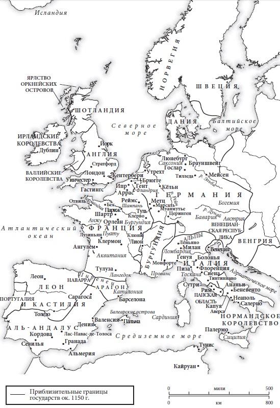 Ris. 4. Zapadnaya Evropa v 1150 g