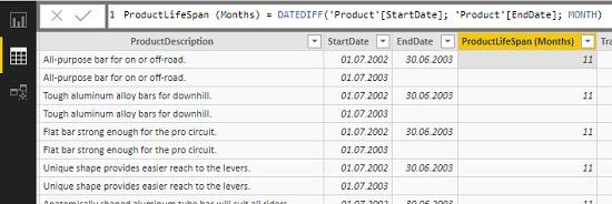 Ris. 27.1. Vychislyaemyj stolbtse na osnove funktsiya DATEDIFF v Power BI Desktop