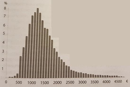 Ris. 2. Raspredelenie urovnya zhizni vo Frantsii v 2004 g. v mesyats v ot obshhego s shagom 100 evro
