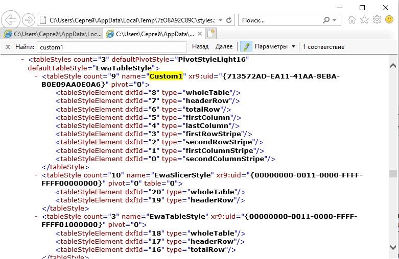 Ris. 7.11. Fragment fajla styles.xml opisyvayushhij polzovatelskij stil Tablitsy Custom1